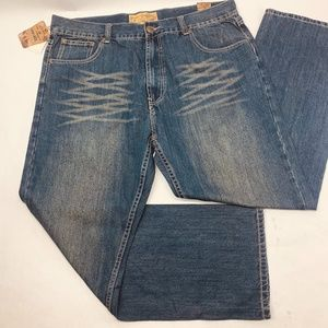 PJ Mark Mens Jeans 42 x 32 Blue Relaxed Straight